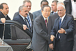 UN Secretary General Ban Ki-Moon is welcomed by Chief Palestinian Negotiator Saeb Erekat, at the Mukata'a, Palestinian HQ in Ramallah, West Bank, Friday January 16, 2009 (Photo by Ahikam Seri).