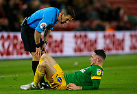 Referee Keith Stroud checks on Preston North End's Alan Browne after he was injured in a tackle<br /> <br /> Photographer Alex Dodd/CameraSport<br /> <br /> The EFL Sky Bet Championship - Middlesbrough v Preston North End - Wednesday 13th March 2019 - Riverside Stadium - Middlesbrough<br /> <br /> World Copyright &copy; 2019 CameraSport. All rights reserved. 43 Linden Ave. Countesthorpe. Leicester. England. LE8 5PG - Tel: +44 (0) 116 277 4147 - admin@camerasport.com - www.camerasport.com