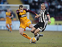 07/02/2009  Copyright Pic: James Stewart.File Name : sct_jspa10_motherwell_v_stmirren.DAVID CLARKSON IS CHALLENGED BY SCOT CUTHBERT.James Stewart Photo Agency 19 Carronlea Drive, Falkirk. FK2 8DN      Vat Reg No. 607 6932 25.Studio      : +44 (0)1324 611191 .Mobile      : +44 (0)7721 416997.E-mail  :  jim@jspa.co.uk.If you require further information then contact Jim Stewart on any of the numbers above.........