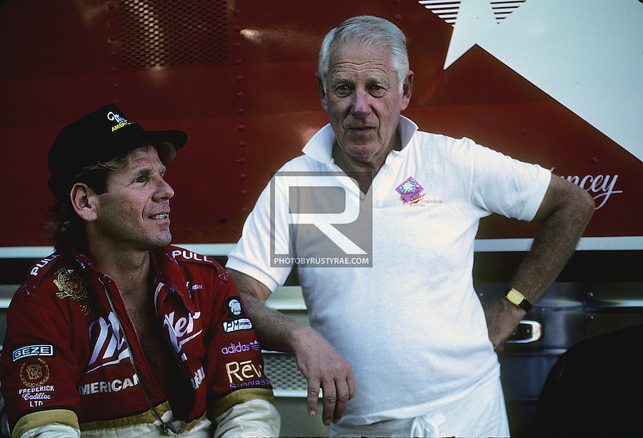 Chip Hanauer and his late father Stan in a quiet moment in the pits. Stan was as remarkable a person as Chip (and other members of the family). O think that he could build just about anything -- from some of Chip's first boats to turbine engines and he was a heck of a sailor and navigator.
