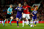 Paul Pogba of Manchester United battles with Sofiane Hanni of Anderlecht during the UEFA Europa League Quarter Final 2nd Leg match at Old Trafford, Manchester. Picture date: April 20th, 2017. Pic credit should read: Matt McNulty/Sportimage