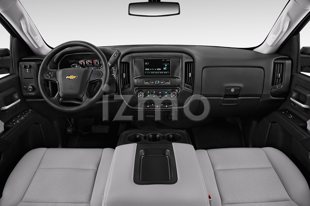 Stock photo of straight dashboard view of a 2019 Chevrolet Silverado-3500 WT 4 Door Pick Up