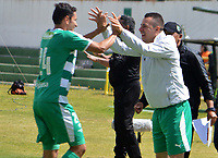 TUNJA - COLOMBIA, 01-09-2018: Juan Alejandro Maecha (#24) jugador de La Equidad celebra después de anotar un gol a Boyacá Chicó FC durante partido por la fecha 7 Liga Águila II 2018 realizado en el estadio La Independencia en Tunja. / Juan Alejandro Maecha (#24) player of La Equidad celebrates after scoring a goal to Boyaca Chico FC during match for the date 7 of Aguila League II 2018 played at La Independencia stadium in Tunja. Photo: VizzorImage / Jose Miguel Palencia / Cont