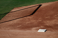 Baseball detail in the field. MLB, Veterans Memorial Stadium. Tucson Arizona. Spring Training, preseason. archival, tierra roja <br />