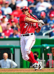 25 April 2010: Washington Nationals' catcher Ivan Rodriguez at bat against the Los Angeles Dodgers at Nationals Park in Washington, DC. The Nationals shut out the Dodgers 1-0 to take the rubber match of their 3-game series. Mandatory Credit: Ed Wolfstein Photo