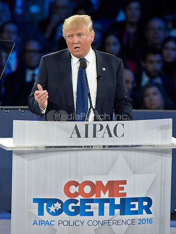 Businessman Donald J. Trump, a candidate for the Republican Party nomination for President of the United States, speaks at the 2016 AIPAC Policy Conference at the Verizon Center in Washington, DC on Monday March 21, 2016.<br /> Credit: Ron Sachs / CNP/MediaPunch<br /> (RESTRICTION: NO New York or New Jersey Newspapers or newspapers within a 75 mile radius of New York City)