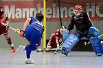 Mannheim, Germany, January 07: During the 1. Bundesliga Herren Hallensaison 2017/18 Sued  hockey match between Mannheimer HC (blue) and Nuernberger HTC (red) on January 7, 2018 at Irma-Roechling-Halle in Mannheim, Germany. Final score 7-4 (HT 2-2). (Photo by Dirk Markgraf / www.265-images.com) *** Local caption *** Paul Zmyslony #13 of Mannheimer HC, Steffen Koenig #1 of Nuernberger HTC
