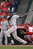 06/08/11 Anaheim, CA: Tampa Bay Rays center fielder B.J. Upton #2 during an MLB game between the Tampa Bay Rays and The Los Angeles Angels  played at Angel Stadium. The Rays defeated the Angels 4-3 in 10 innings