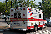 A Hatzalah ambulance is parked by the Jewish Hassidic Lubavitch headquarters in the Crown Heights neighborhood of the the New York City borough of Brooklyn, NY, Monday August 1, 2011. Hatzolah (or Hatzalah) is a volunteer Emergency Medical Service (EMS) organization serving mostly Jewish communities around the world.
