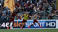 Calcio, Serie A: Lazio vs Roma. Roma, stadio Olimpico, 25 maggio 2015.<br /> Roma's Juan Iturbe, right, celebrates with teammates after scoring during the Italian Serie A football match between Lazio and Roma at Rome's Olympic stadium, 25 May 2015.<br /> UPDATE IMAGES PRESS/Isabella Bonotto