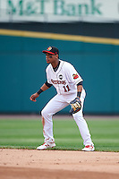 Rochester Red Wings second baseman Jorge Polanco (11) during a game against the Indianapolis Indians on May 26, 2016 at Frontier Field in Rochester, New York.  Indianapolis defeated Rochester 5-2.  (Mike Janes/Four Seam Images)