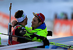 France's Martin Fourcade competes during the men pursuit race of the biathlon World Cup on December 14, 2014 in Hochfilzen, Austria.