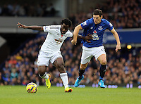 Liverpool, UK. Saturday 01 November 2014<br /> Pictured L-R: Wilfried Bony of Swansea against Gareth Barry of Everton.<br /> Re: Premier League Everton v Swansea City FC at Goodison Park, Liverpool, Merseyside, UK.