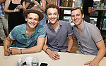 Ben Cook, Iain Young and Brendon Stimson attend the 'Mean Girls' Original Broadway Cast Linyl Release at the Herald Square Urban Outfitters' on August 28, 2018 in New York City.