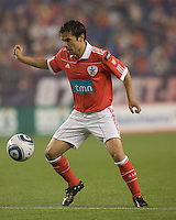 SL Benfica forward Javier Saviola (30) traps the ball. SL Benfica  defeated New England Revolution, 4-0, at Gillette Stadium on May 19, 2010.