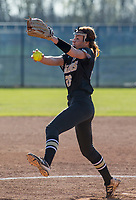 NWA Democrat-Gazette/BEN GOFF @NWABENGOFF<br /> Cailey Cochran pitches for Bentonville Tuesday, April 10, 2018, during the game against Bentonville West at Bentonville West's Wolverine Athletic Complex in Centerton.