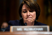 Sen. Amy Klobuchar, D-Minn., questions Supreme Court nominee Brett Kavanaugh as he testifies before the Senate Judiciary Committee on Capitol Hill in Washington, Thursday, Sept. 27, 2018. (AP Photo/Andrew Harnik, Pool)