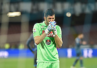 Mariano Andujar  reacts during the Italian Serie A soccer match between   SSC Napoli and Atalanta  at San Paolo  Stadium in Naples ,March 22 , 2015<br /> <br /> <br /> incontro di calcio di Serie A   Napoli -Atalanta allo  Stadio San Paolo  di Napoli , 22  Marzo 2015