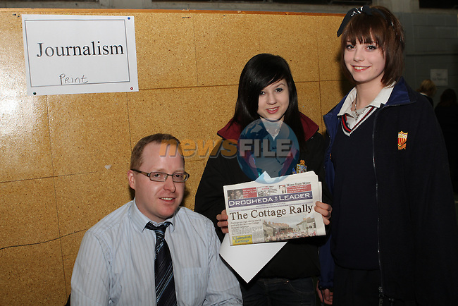 Ian Waters speaks to Stephanie Hayes and Hannah McHugh about jounalism at the Careers Night in St.Josephs School...(Photo credit should read Jenny Matthews www.newsfile.ie)....This Picture has been sent you under the conditions enclosed by:.Newsfile Ltd..The Studio,.Millmount Abbey,.Drogheda,.Co Meath..Ireland..Tel: +353(0)41-9871240.Fax: +353(0)41-9871260.GSM: +353(0)86-2500958.email: pictures@newsfile.ie.www.newsfile.ie.