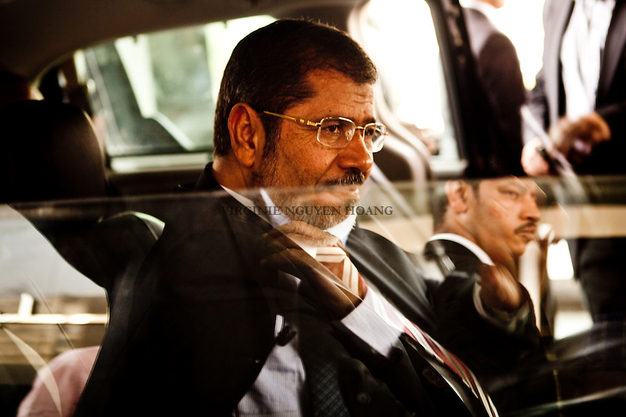 ©VIRGINIE NGUYEN HOANG/.Egypt,Cairo.29/05/2012..Mohamed Morsy at a press conference on Tuesday where he promised a broad coalition government and that the country's new constitution will be written by a panel that truly represents the nation...Mohamed Morsy lors d'une conference de presse ce mardi ou il a promis un gouvernement de large coalition et que la nouvelle constitution du pays sera redige par un groupe qui represente veritablement la nation.
