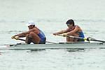 Yoshihiro Otsuka &  Yuta Takano (JPN), <br /> AUGUST 23, 2018 - Rowing : <br /> Men's pair Final <br /> at Jakabaring Sport Center Lake <br /> during the 2018 Jakarta Palembang Asian Games <br /> in Palembang, Indonesia. <br /> (Photo by Yohei Osada/AFLO SPORT)