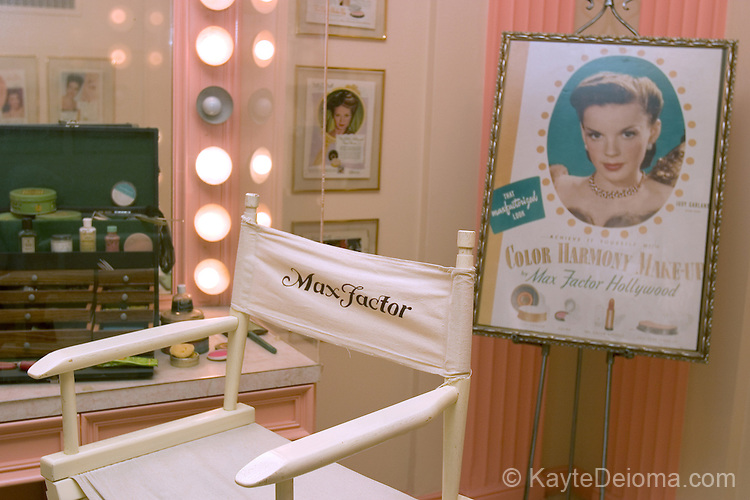 """The """"For Brownettes Only"""" make up room at the Hollywood History Museum features Judy Garland and the make up Max Factor used on her and other """"brownettes."""""""