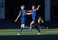 Seattle, WA - Saturday July 22, 2017: Megan Rapinoe, Lindsay Elston during a regular season National Women's Soccer League (NWSL) match between the Seattle Reign FC and Sky Blue FC at Memorial Stadium.