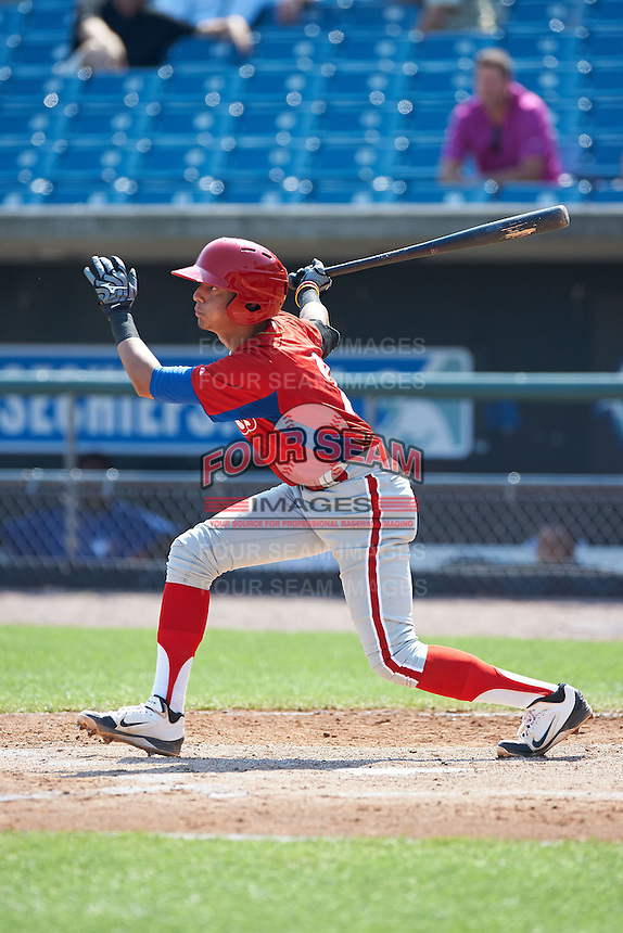 Stephen Alemais #2 of All Hallows High School in New York City, New York playing for the Philadelphia Phillies scout team during the East Coast Pro Showcase at Alliance Bank Stadium on August 3, 2012 in Syracuse, New York.  (Mike Janes/Four Seam Images)