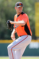Baltimore Orioles minor league player Chris Tillman #24 during a spring training game vs the Boston Red Sox at the Buck O'Neil Complex in Sarasota, Florida;  March 22, 2011.  Photo By Mike Janes/Four Seam Images