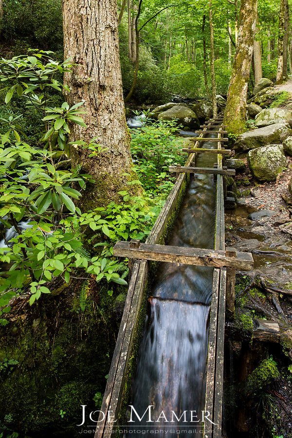 Water trough brings water to the Alfred Reagan tub mill along the Roaring Fork River in Great Smoky Mountains National Park.