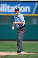 Umpire Max Guyll during a game between the Rochester Red Wings and Pawtucket Red Sox on July 1, 2015 at Frontier Field in Rochester, New York.  Rochester defeated Pawtucket 8-4.  (Mike Janes/Four Seam Images)