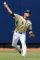 17 May 2008: Florida International center fielder Raimy Fuentes (38) throws the ball back to the infield in the top of the sixth inning of the Florida Atlantic 10-9 victory over FIU at University Park Stadium in Miami, Florida.