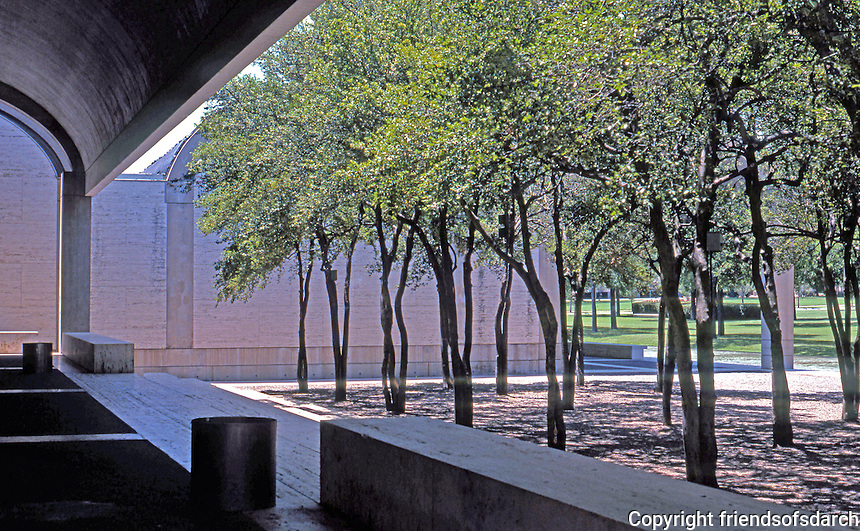 Louis I. Kahn: Kimbell Art Museum, Ft. Worth. View of grounds from terrace.  Photo '96.