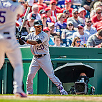 14 April 2018: Colorado Rockies first baseman Ian Desmond stands on deck during a game against the Washington Nationals at Nationals Park in Washington, DC. The Nationals rallied to defeat the Rockies 6-2 in the 3rd game of their 4-game series. Mandatory Credit: Ed Wolfstein Photo *** RAW (NEF) Image File Available ***