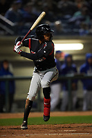 Lake Elsinore Storm center fielder Edward Olivares (11) at bat during a California League game against the Rancho Cucamonga Quakes at LoanMart Field on May 19, 2018 in Rancho Cucamonga, California. Lake Elsinore defeated Rancho Cucamonga 10-7. (Zachary Lucy/Four Seam Images)