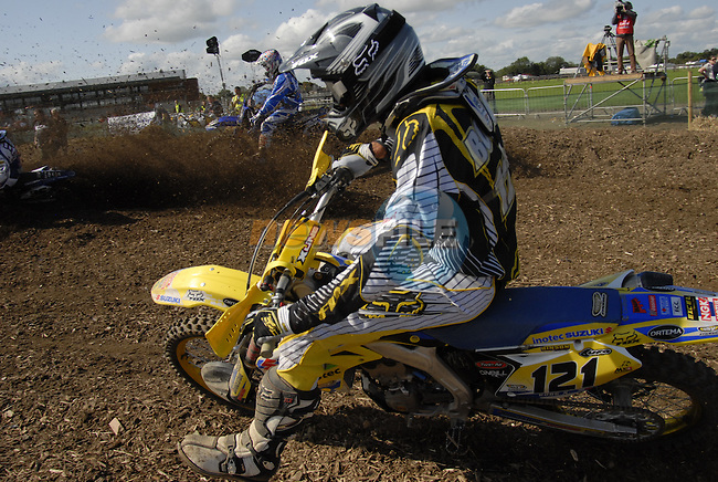 Xavier Boog (FRA) rounds the first corner during the MX2 Grand Prix Race2 in the Motocross Grand Prix at Fairyhouse Race Course, Co.Meath, Ireland, 31st August 2008.(Photo Eoin Clarke/Newsfile)