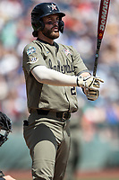 Vanderbilt Commodores first baseman Julian Infante (22) at the plate during Game 3 of the NCAA College World Series against the Louisville Cardinals on June 16, 2019 at TD Ameritrade Park in Omaha, Nebraska. Vanderbilt defeated Louisville 3-1. (Andrew Woolley/Four Seam Images)