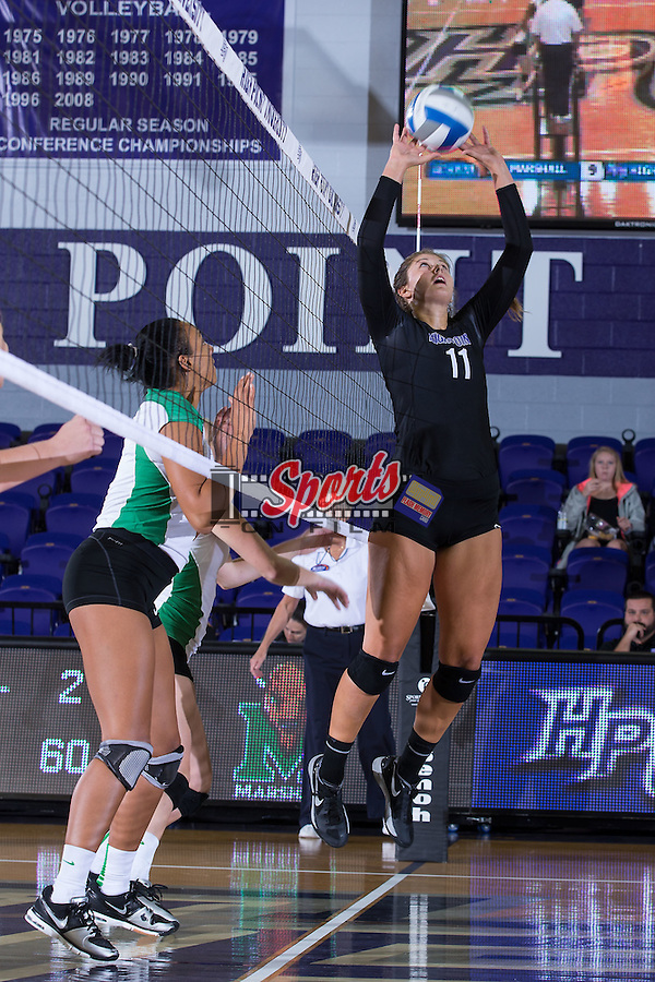 Carly Jimenez (11) of the High Point Panthers sets the ball during the match against the Marshall Thundering Herd at the Panther Invitational at the Millis Athletic Center on September 12, 2015 in High Point, North Carolina.  The Thundering Herd defeated the Panthers 3-2.   (Brian Westerholt/Sports On Film)