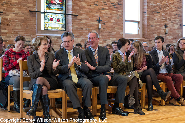 St. Norbert College President-elect Brian Bruess is introduced to faculty on December 12, 2016.