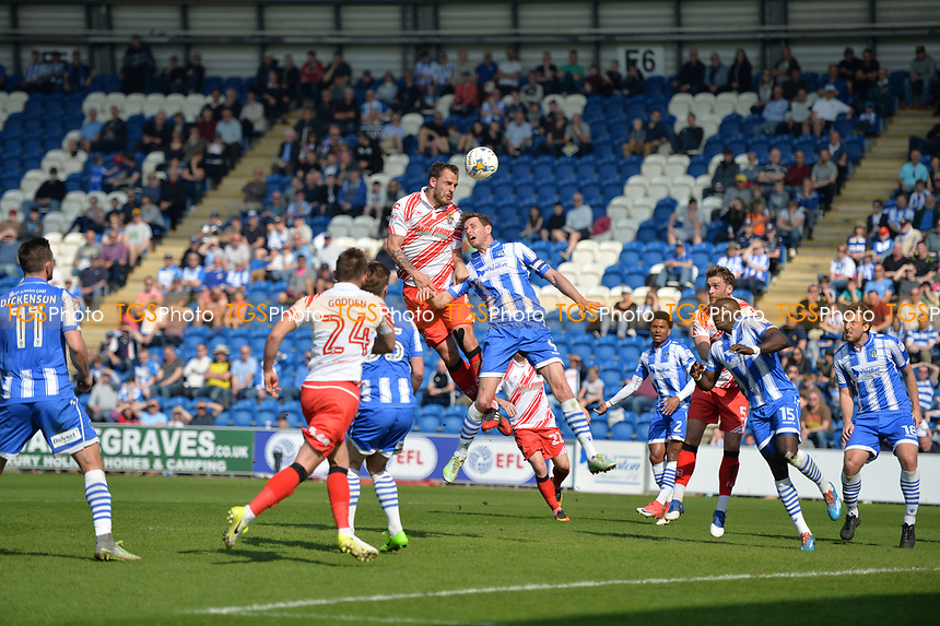luke wilkinson heads over during Colchester United vs Stevenage, Sky Bet EFL League 2 Football at the Weston Homes Community Stadium on 8th April 2017