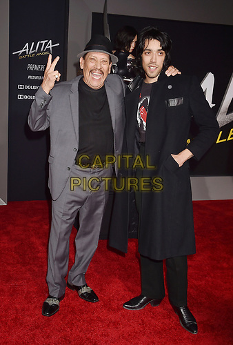 WESTWOOD, CA - FEBRUARY 05: Danny Trejo (L) and son Gilbert Trejo attend the Premiere Of 20th Century Fox's 'Alita: Battle Angel' at Westwood Regency Theater on February 05, 2019 in Los Angeles, California.<br /> CAP/ROT/TM<br /> ©TM/ROT/Capital Pictures