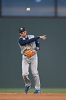Second baseman Blake Tiberi (3) of the Columbia Fireflies plays defense during a game against the Greenville Drive on Monday, April 16, 2018, at Fluor Field at the West End in Greenville, South Carolina. (Tom Priddy/Four Seam Images)