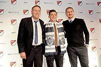 Philadelphia, PA - Thursday January 19, 2018: Bob Lenarduzzi, Lucas Stauffer, Carl Robinson during the 2018 MLS SuperDraft at the Pennsylvania Convention Center.