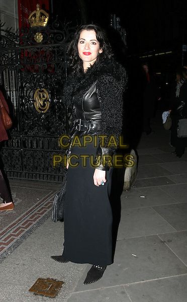 NIGELLA LAWSON.Cecil Beaton: Portraits preview party at the National Portrait Gallery.4 February 2004.full length, full-length, leather jacket, long black skirt.www.capitalpictures.com.sales@capitalpictures.com.© Capital Pictures.