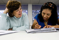 Volunteer Nancy Purcell (cq, left, 972.66.5494) helps Herminia Campos (cq) during an ESL class to learn English as part of the the Nueva Vida Program at Spring Valley United Methodist Church in North Dallas, Texas, Tuesday, March 25, 2008. The class, which runs for 18 weeks, is entirely taught by volunteers...PHOTO/ MATT NAGER
