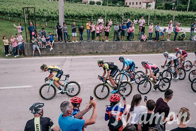 Sam Bewley (NZL/Mitchelton-Scott) piloting team leader & Maglia Rosa / overall leader Simon Yates (GBR/Mitchelton-Scott) in the front of the peloton with 15km to go<br /> <br /> stage 13 Ferrara - Nervesa della Battaglia (180km)<br /> 101th Giro d'Italia 2018