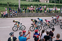 Sam Bewley (NZL/Mitchelton-Scott) piloting team leader & Maglia Rosa / overall leader Simon Yates (GBR/Mitchelton-Scott) in the front of the peloton with 15km to go<br /> <br /> stage 13 Ferrara - Nervesa della Battaglia (180km)<br /> 101th Giro d'Italia 2018