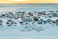 Teams rest on the slough at the Unalakleet checkpoint on Sunday evening March 11th during the 2018 Iditarod Sled Dog Race -- Alaska<br /> <br /> Photo by Jeff Schultz/SchultzPhoto.com  (C) 2018  ALL RIGHTS RESERVED