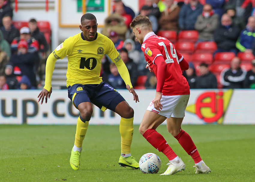 Blackburn Rovers' Amari'i Bell blocks the path of Nottingham Forest's Matty Cash<br /> <br /> Photographer David Shipman/CameraSport<br /> <br /> The EFL Sky Bet Championship - Nottingham Forest v Blackburn Rovers - Saturday 13th April 2019 - The City Ground - Nottingham<br /> <br /> World Copyright © 2019 CameraSport. All rights reserved. 43 Linden Ave. Countesthorpe. Leicester. England. LE8 5PG - Tel: +44 (0) 116 277 4147 - admin@camerasport.com - www.camerasport.com