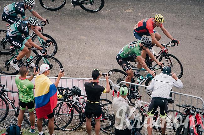 a bruised Peter Sagan (SVK/Bora-Hansgrohe) coming up the brutal Col du Portet (HC/2250m/16km at 8.7%/Souvenir Henri Desgrange) in this historically short stage (only 65km), after crashing in the descent of the earlier climb<br /> <br /> Stage 17: Bagnères-de-Luchon > Saint-Lary-Soulan (65km)<br /> <br /> 105th Tour de France 2018<br /> ©kramon